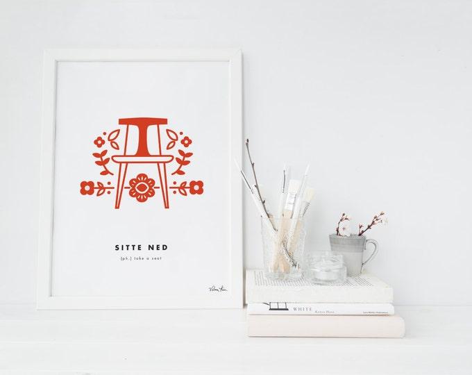 "8x10 ""Sitte Ned"" (Take a Seat) Nordic Word Print, red and white, Norwegian Scandinavian folk art illustration"