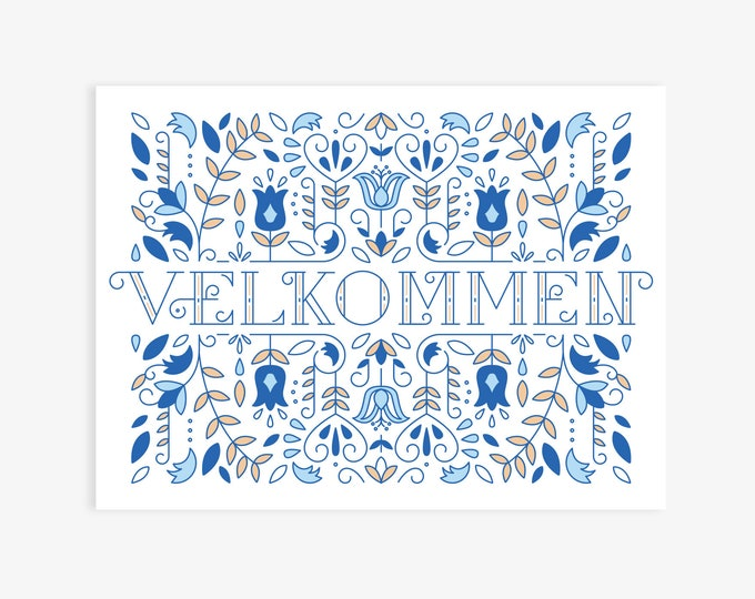 11x14 Velkommen (Norwegian Welcome) Modern Nordic Print, Norwegian Scandinavian folk art, A Happy Welcome!