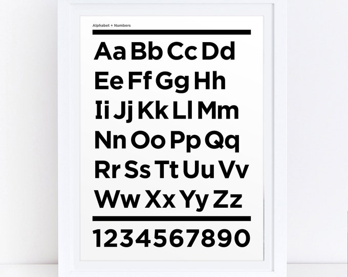 Modern Minimal Alphabet, Black and White, Scandinavian Style, Digital Download Print