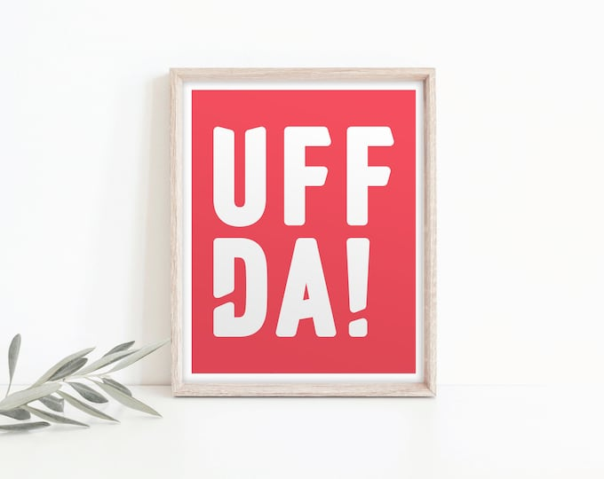 "8x10 ""Uffda!"" Poster (Limited Edition), red and white, Norwegian Scandinavian folk art print"