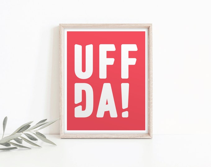 "8x10 ""Uffda!"" Nordic Risograph Poster (Limited Edition), red and white, Norwegian Scandinavian folk art print"