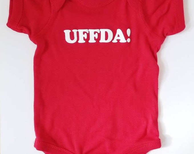 "NEW Nordic ""Uffda!"" Onesie in red or black, Norwegian newborn baby and toddler apparel NB, Scandinavian kids childrenswear bodysuit"