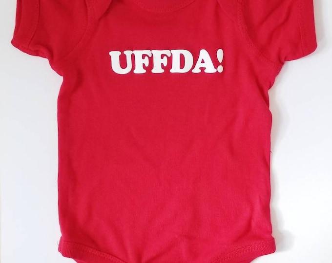 "NEW Nordic ""Uffda!"" Onesie in red or black, Norwegian newborn baby and toddler apparel NB, Scandinavian kids childrenswear bodysuit"