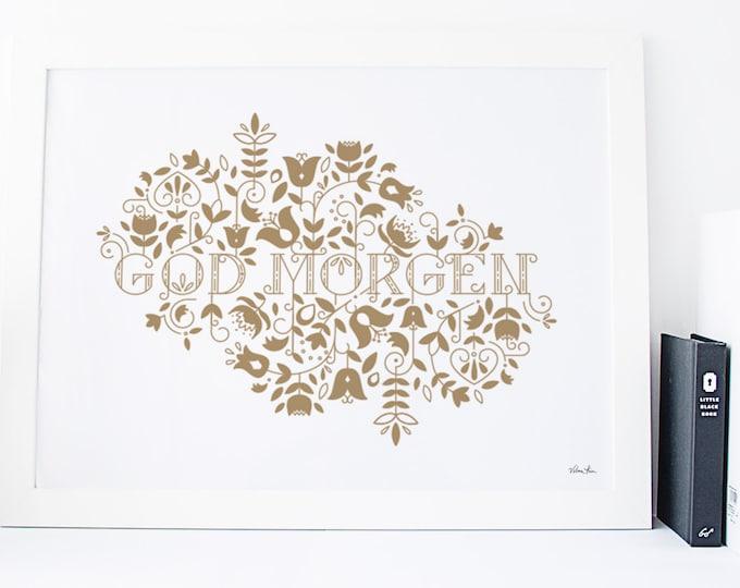 "11x14 ""GodMorgen"" (Good Morning) Nordic Risograph Print (Limited Edition) in metallic gold, Norwegian Scandinavian modern folk art"