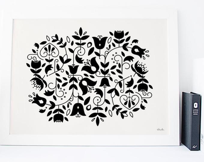 11x14 Nordic Floral Risograph Print (Limited Edition) in black & cream, Norwegian Scandinavian modern folk art