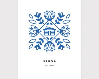 "5x7 ""Stuga"" (Cabin) Nordic Word Print, blue and white, Scandinavian folk art illustration"