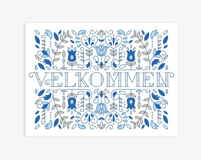 """Velkommen (Norwegian Welcome) Modern Nordic Print, Norwegian Scandinavian folk art, A Happy Welcome! 8""""x10"""" or 11""""x14"""""""
