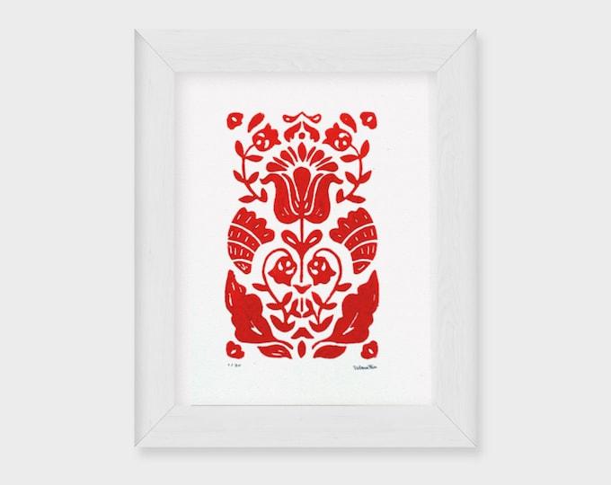 5x7 Tulipan Floral Linocut Print, Nordic Rosemaling, Block Print in Red, Modern Scandinavian Folk Art