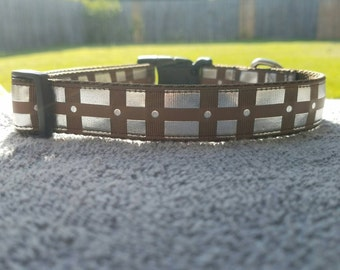 """1"""" Chewbacca belt Collar with silver foil"""