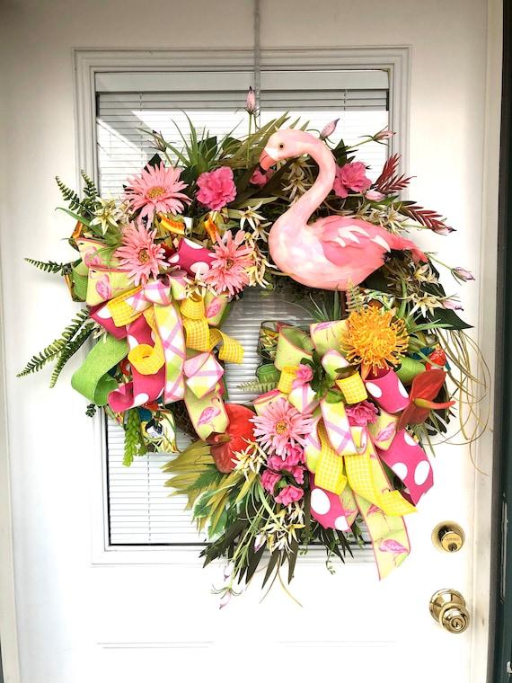 Flamingo wreath flamingo grapevine wreath summer floral wreath floral grapevine wreath tropical wreath summer grapevine wreath