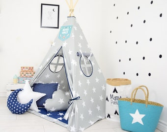 Teepee tents kids, Play tents, Teepee tent for kids, Childrens Teepee Play Teepee, kids teepee, tipi - Navy Sailor[set with pillows]