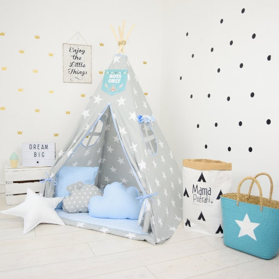 sneakers for cheap 4f8a3 0c79b Playtent, Blue Teepee, Star Tipi, Tent, Play Teepee, Reading Lamp, Ready to  Ship Teepee, Baby Blue Teepee, Kids Wigwam, Children Teepee