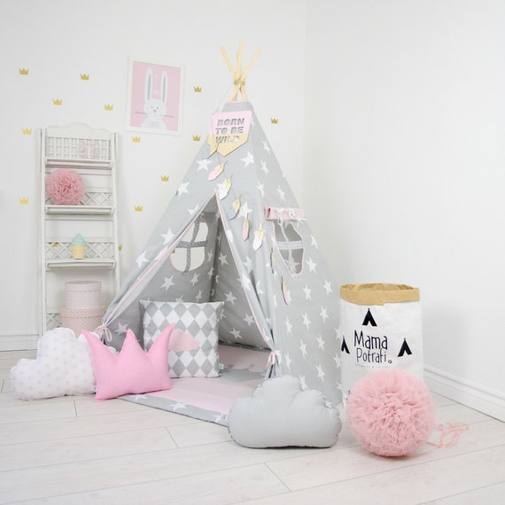 save off 37dc6 e2268 Play Tent, Star Teepee, Tipi, Pink Teepee Tent, Teepee Enfant, Child  Teepee, Wigwam, Reading Lamp, Powder Pink Tent, Playmat, Zelt