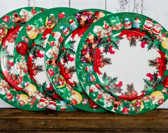vintage christmas plates set small dinner or desert plates plastic with bubble texture christmas scenes fun retro christmas serving set - Christmas Plastic Plates