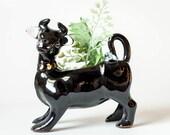 Vintage Black Cow Planter - Antique Pottery Cow Plant Pot - Ceramic Cow Figurine Planter