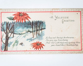 Vintage Antique Christmas Greeting Card - Christmas Yuletide Postcard - Winter Christmas Scene Notecard