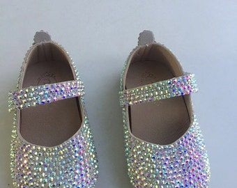 938df7292 Girls Crystal Shoes Custom fit little/toddler and big girls AB rhinestone  stones sparkly flower girl shoes bling bling glitter party shoes
