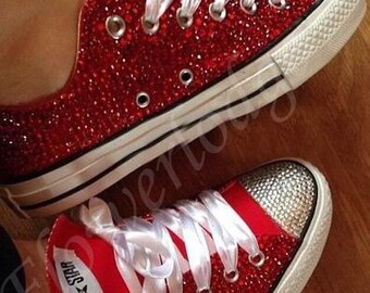 9f1a633b026 Red Flower Girl Shoes converse Ruby Red swarovski crystal Lower high top  Sneakers Bridal Flower Girl Sneaker Shoes Custom Women Adult Shoes