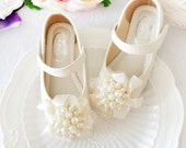Off White Girls Shoes Toddler Flower Girl Shoes Youth Girl Shoes/Pearled Silk Ribbon Lace Cute Real Leather Girls Shoes Party Dance Shoes