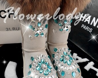 24eef366e976d Black boots Pom Poms Fluffy Fox Furry Boots Sparkly Rhinestone | Etsy