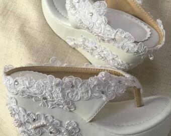 d5d6614c1da4c White Lace Flip Flops Rhinestone Pearl Beads Wedge Flip flops