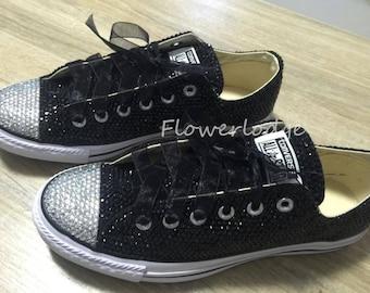 32e5f1d6de97 custom low high-top sneaker shoes Black Rhinestone Converse Customize for  women girls