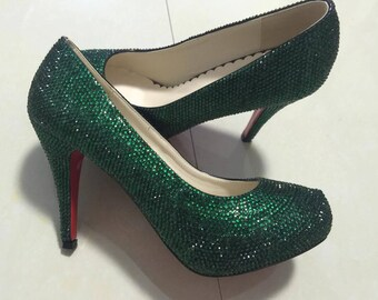 16d8c1b3307 Dark Green Rhinestone Classic Pumps Slippers Sparkly Women shoes Customize  Crystal Shoes Emerald Shoes Prom Dance Heel Grisl s Women s Shoes