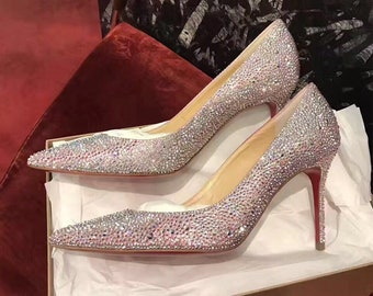 895302cb74cd8 sparkly crystal iridescent crystal pointed toe Women heels handmade to  order accept custom and personalized