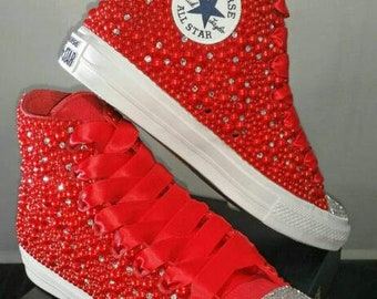 4db776819cb1 Rhinestone Converse Shoes bling converse Red crystal stones high top  converse sneaker Bridal Flower Girl Sneaker Shoes red satin lace ribbon