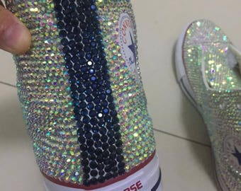 a1676612095 bling converse Sparkly AB crystal Back Navy Blue Bling high top converse  sneaker Bridal Flower Girl Sneaker Shoes satin lace ribbon
