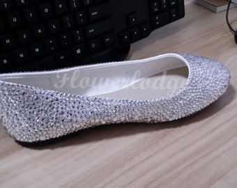 b3a010cd5f8 Silver Crystal Women Flat Shoes Clean Stones Ballet Flats Bling Shoes  Customize shoes for Adult Women and Children Toddler Youth