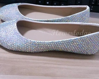 c30c6767b59 Crystal Flats Shoes Rhinestone Sparkle Custom Flats Closed Toe ballet flat  shoes