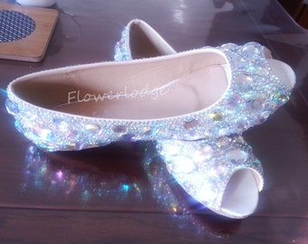 792d4420a3f Crystal Women Flat Shoes-Peep Toe Shoes Soft Comfortable Shoes-sparkle  ballet flats slippers