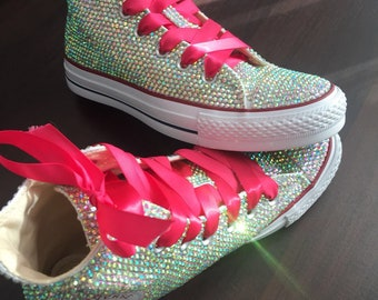 4195c978e Sparkly Converse Shoes bling converse AB crystal high top converse sneaker  Bridal Flower Girl Sneaker Shoes Hot Pink satin lace ribbon