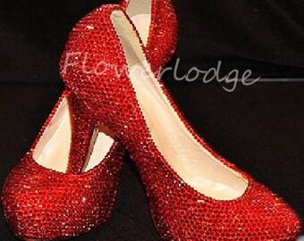 e9735c5b81c1 Red Rhinestone Women Pumps Shoes Closed Toe Heels Ruby Red Sparkle Crystal  Classic Women Heels