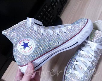 de979a9feb8385 Rhinestone Converse Shoes bling converse sparkle AB crystal high top  converse sneaker Bridal Flower Girl Sneaker Shoes satin lace ribbon