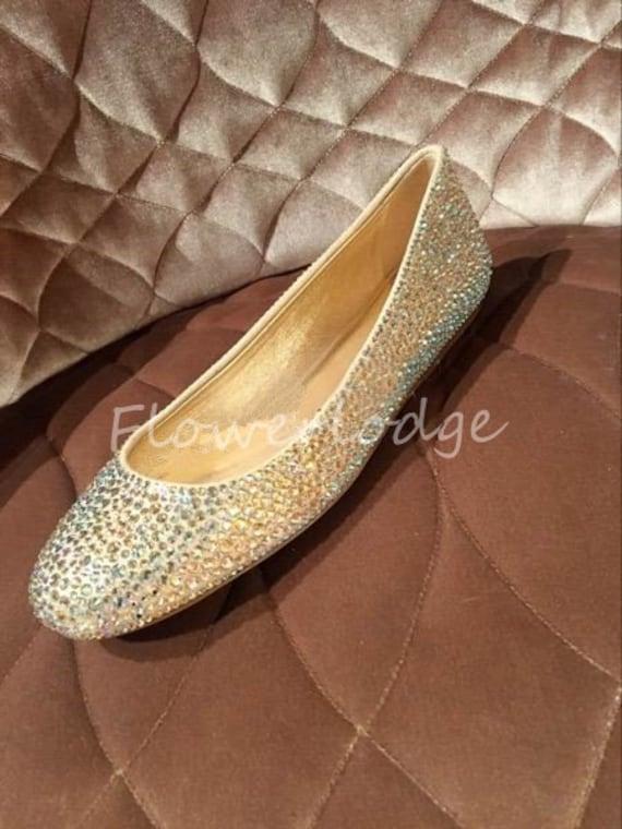 Sparkle Women Ballet Flats Shoes AB Iridescent Glitter bling  6c9e15395a
