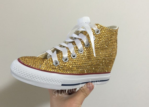 the latest f29ab 057bc Gold Crystal Converse Shoes, bling wedge converse shoes Toddle Shoe Wedding  Flower Girl Sneaker Shoes, satin lace ribbon, custom women shoes