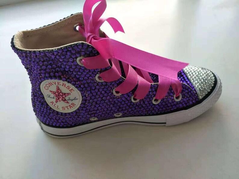 Rhineston Converse Schuhe Rosa hoch oben machen Sneaker Schuhe Bridal Flower Girl weißer satin Spitze Swarovski Kristall Frauen Sneaker Schuhe