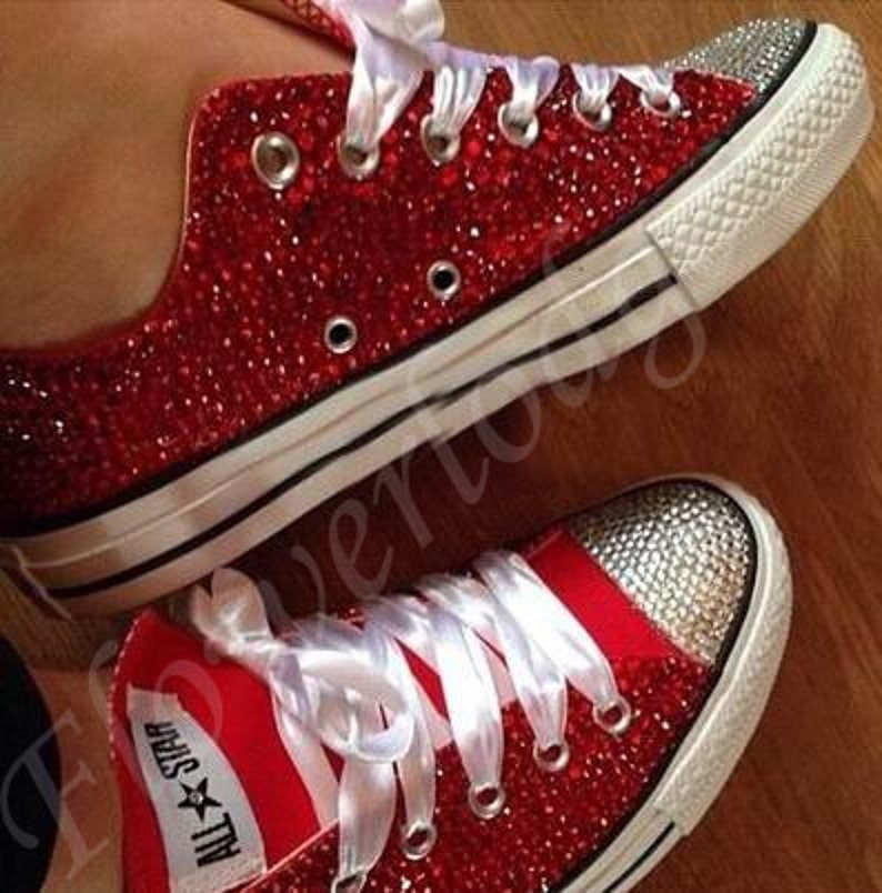 fd82804be Red Flower Girl Shoes converse Ruby Red swarovski crystal