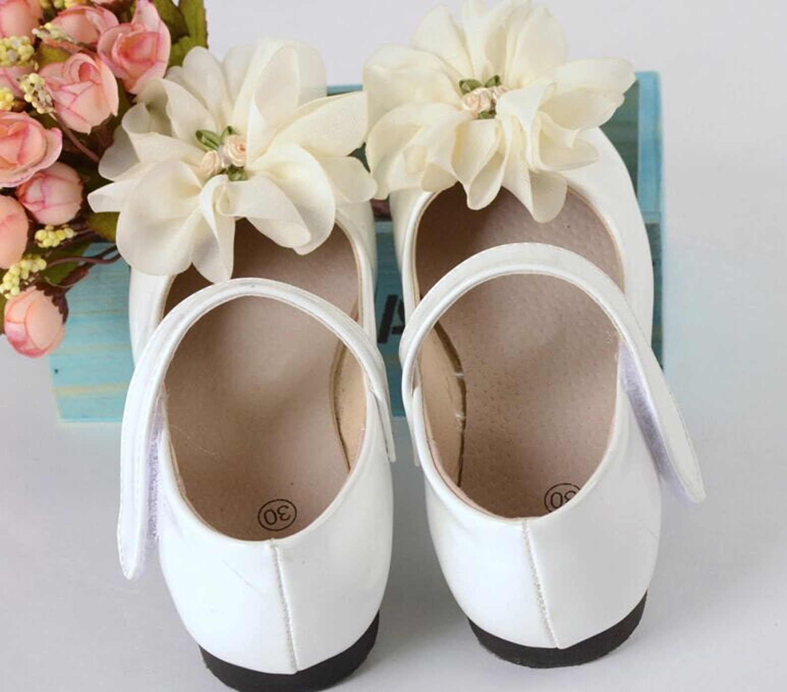 flower girl shoes ivory lace flowers white leather shoes ankle strap-dance shoes-ballet flat shoes-children shoes