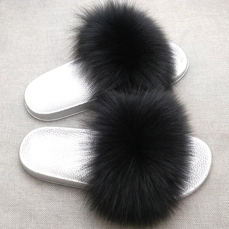 42c93c2f7baa Fox Furry Women Shoes Black Flip Flops Pom Poms Flip