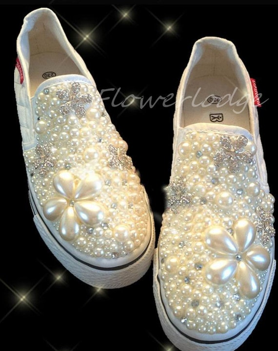 pearled women canvas shoes custom girl s canvas shoes 83fc6bd2ced0