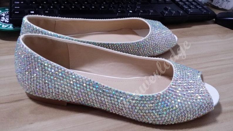 a0f7a8c87d1c5 Rhinestone Ballet Flats Women Shoes AB Crystal Stones Sparkle