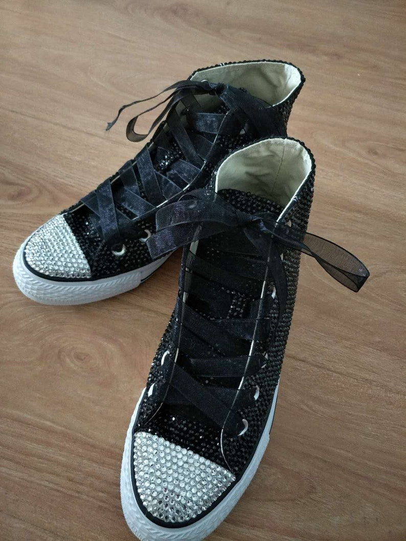 d84d790f6c8d Black bling converse shoes flower girl sneakers Girls Bat