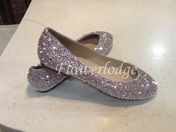 Sparkly Women Ballet Flats Shoes Clean Shiny bling crystal  27633d1323