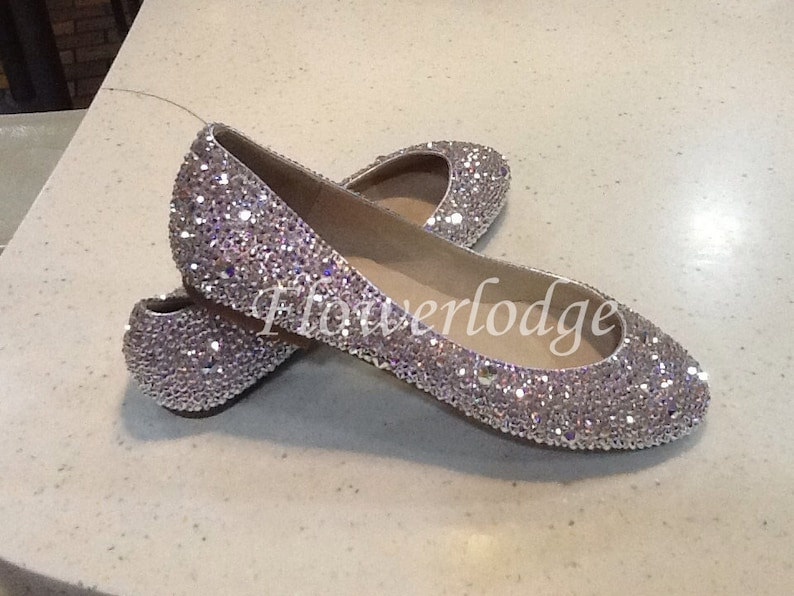 750c04bf161390 Sparkly Women Ballet Flats Shoes Clean Shiny bling crystal