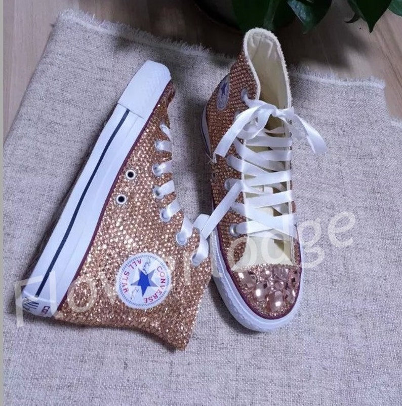 c9d9a8ea9129 Champagne crystal Converse Shoes Rhinestone high top converse