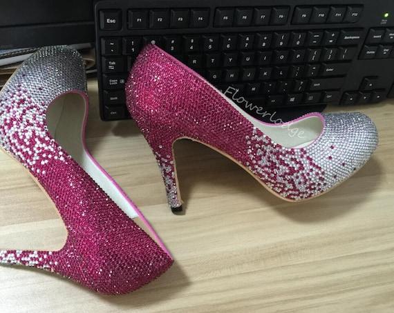 2e1ac25ecf88 Crystal Women Shoes Fuchsia Sliver Rhinestone Closed Toe Heels