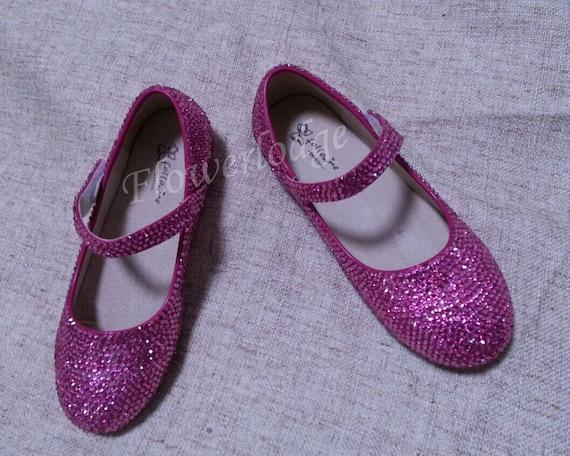Crystal flower girl shoes hot pink rhinestone crystal mary mightylinksfo
